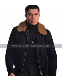 Henry Golding The Gentlemen Dry Eye Fur Collar Black Cotton Jacket