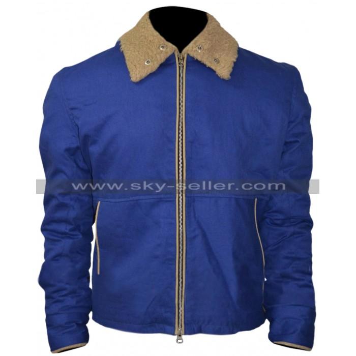 Tom Hardy Drop Movie Bob Blue Fur Jacket