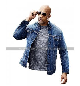 Fast & Furious Presents Hobbs & Shaw Rock Dwayne Johnson Blue Denim Jacket