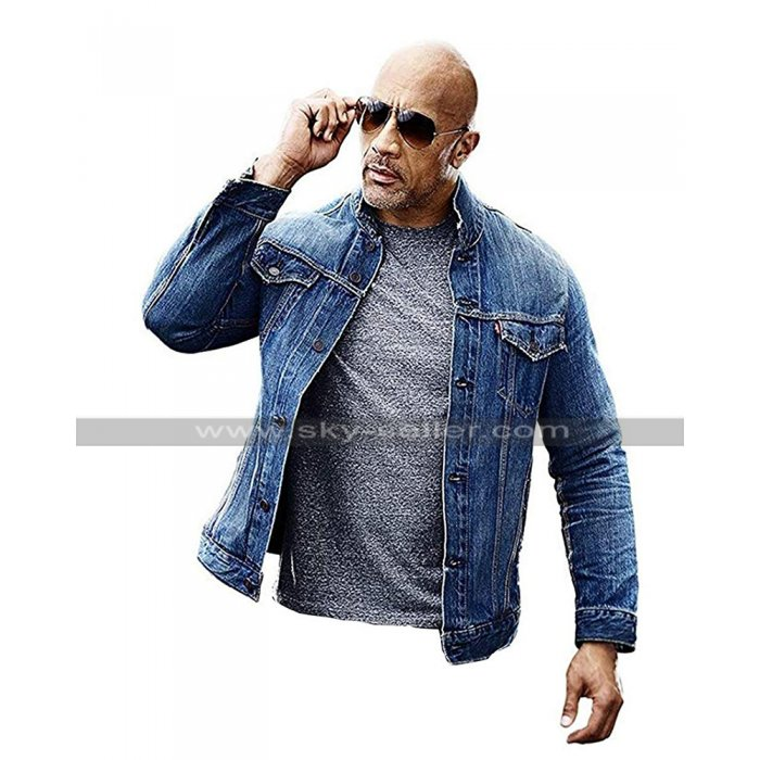 Fast & Furious Presents Hobbs & Shaw Rock Dwayne Johnson Blue Denim Jacket