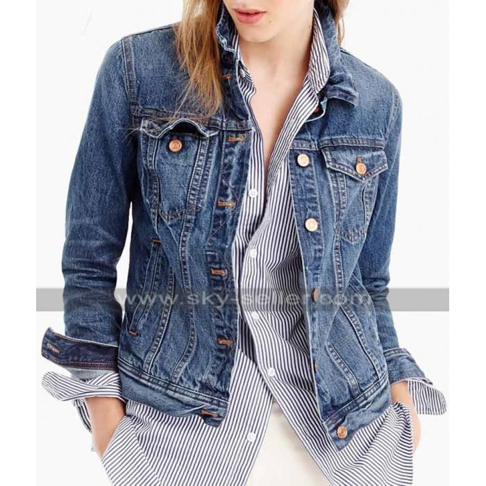 Hannah Baker 13 Reasons Why Katherine Langford Blue Denim Jacket