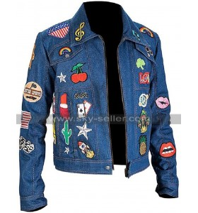 Rocketman Taron Egerton Patches Blue Denim Jacket