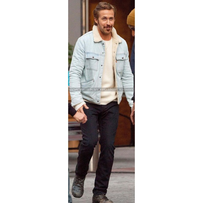 Nice Guys Ryan Gosling Denim Inner Fur Blue Jacket