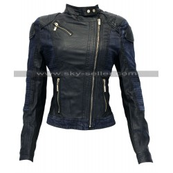 Women Slimfit Leather Asymmetrical Biker Denim Jacket