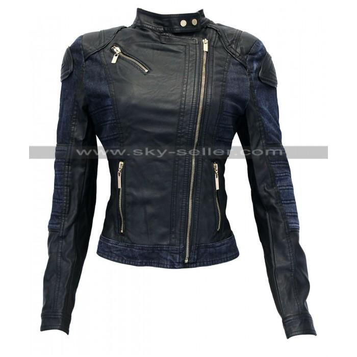 Women Slimfit Leather Asymmetrical Biker Denim Jacket