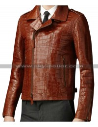 Alligator Animal Brown Leather Jacket