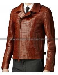 Alligator Animal Brown Leather Jacket