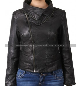 Asymmetric Ladies Real Sheep Leather Moto Jacket