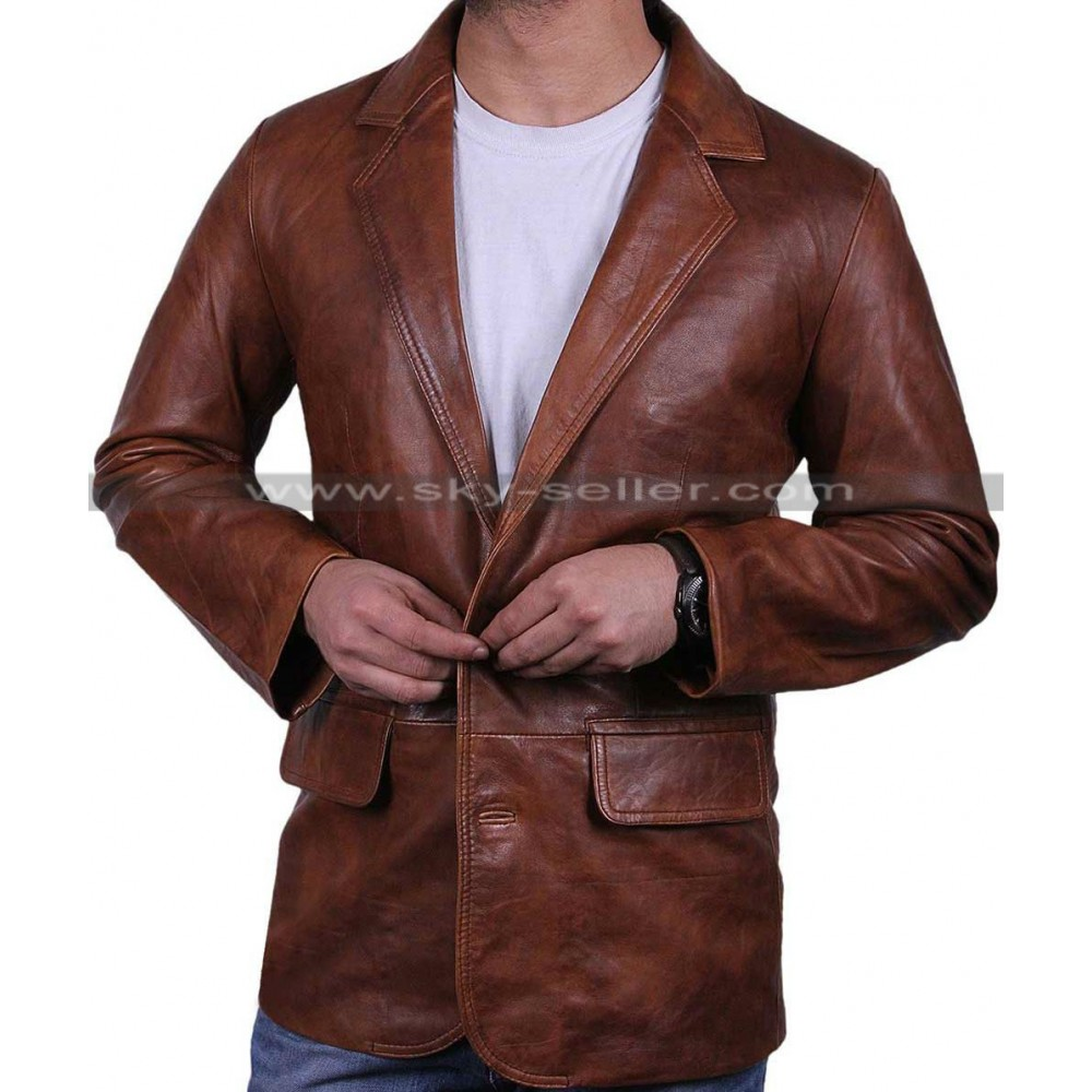 Blazers Jackets Mens: Mens Italian Brown Leather Blazer Jacket