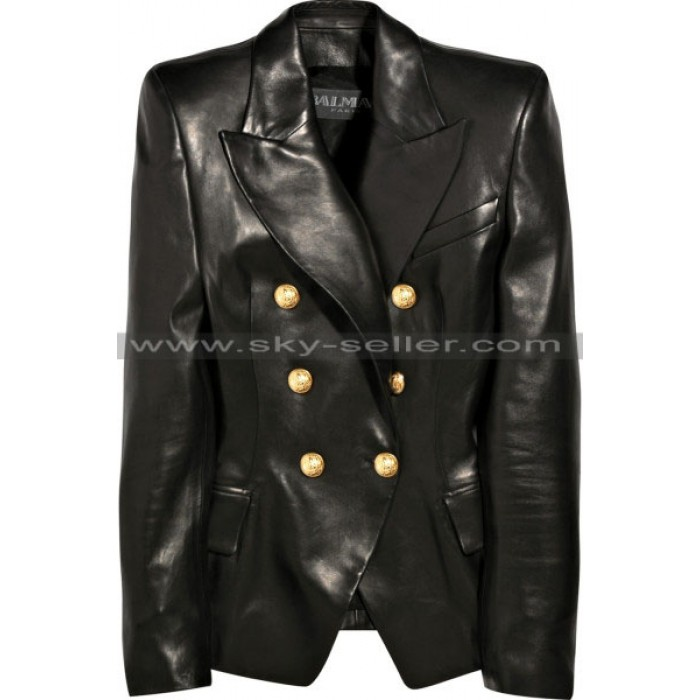Kim Kardashian Double Breasted Black Leather Blazer