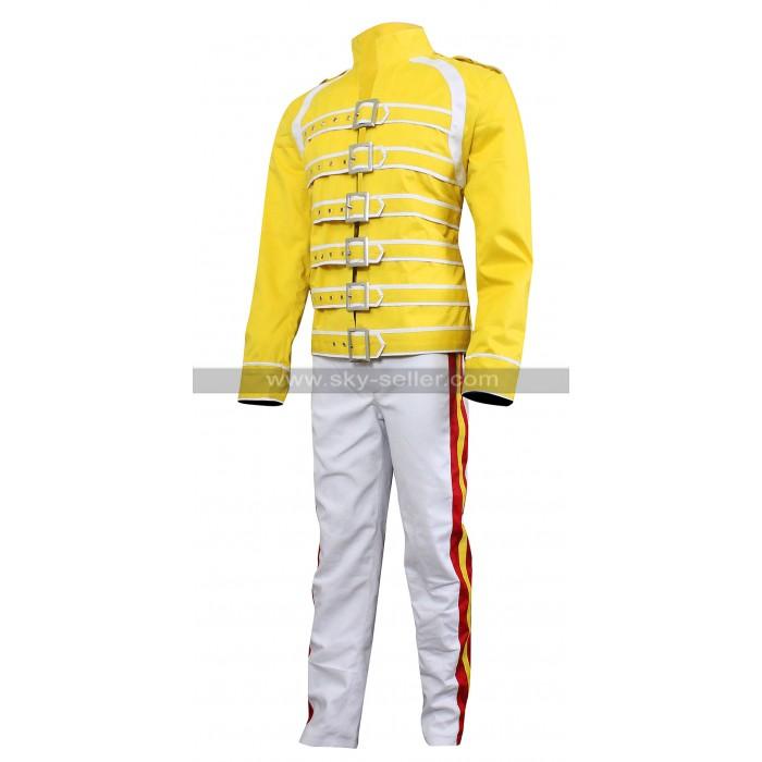 Freddie Mercury Queen Tribute Wembley Concert Yellow Cotton Costume Jacket