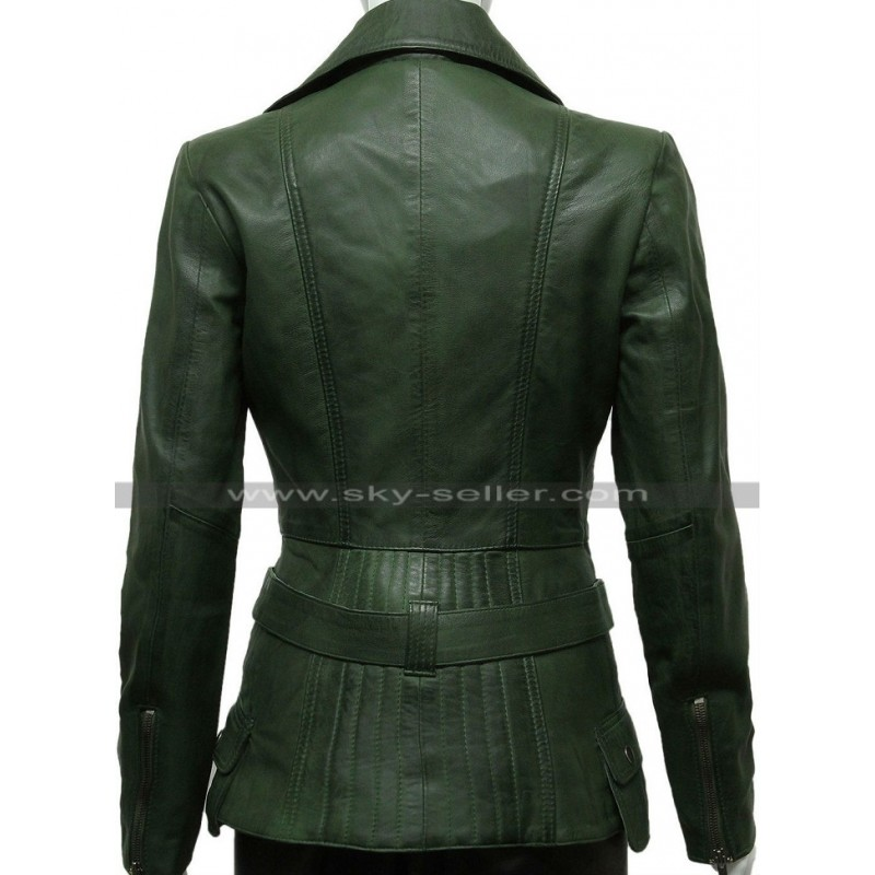Green Womens Biker Style Leather Jacket