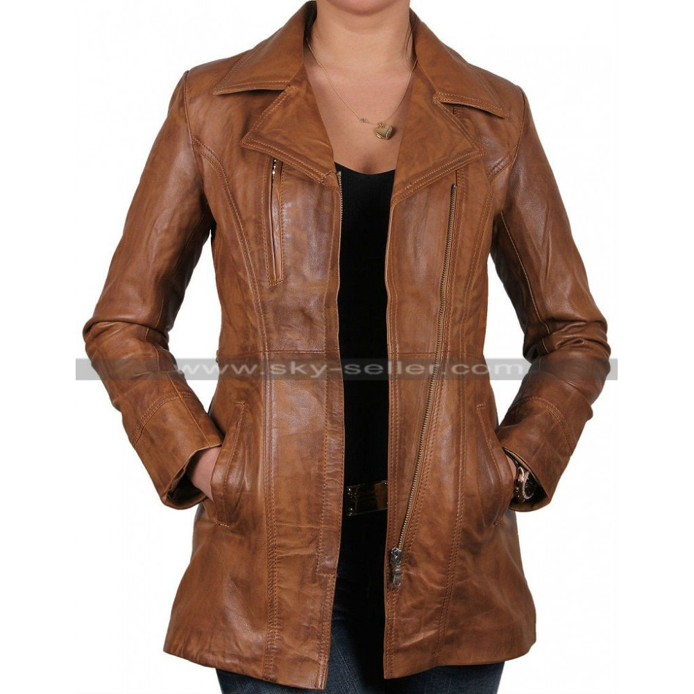 Ladies Real Leather Long Brown Biker Coat