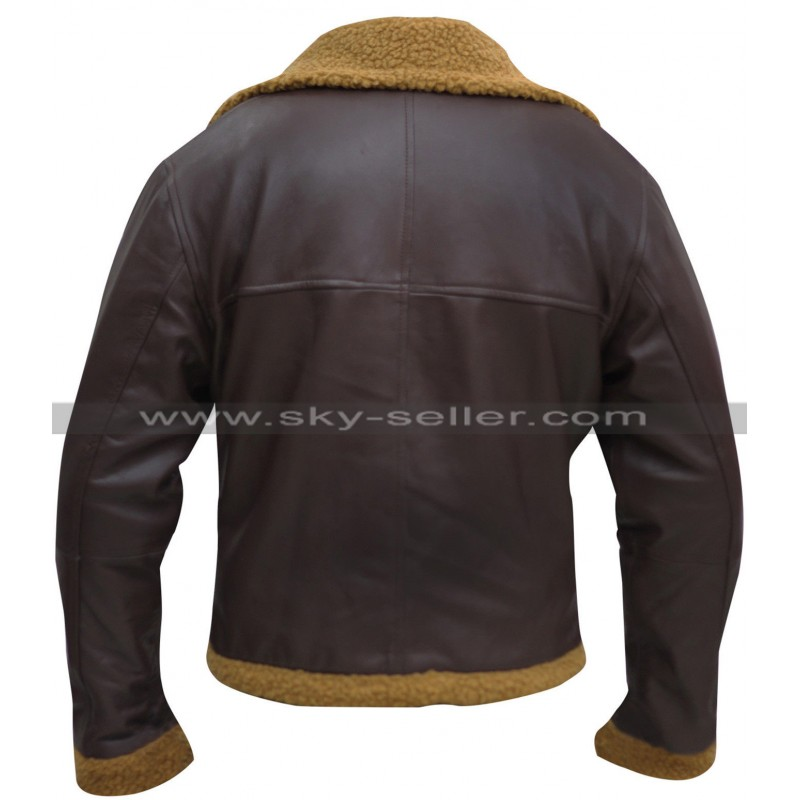 Ginger Aviator Shearling Sheepskin Bomber Jacket