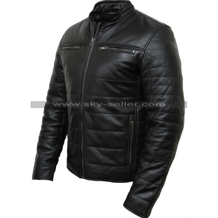 Men's Black Puffer Padded Motorcycle Leather Jacket