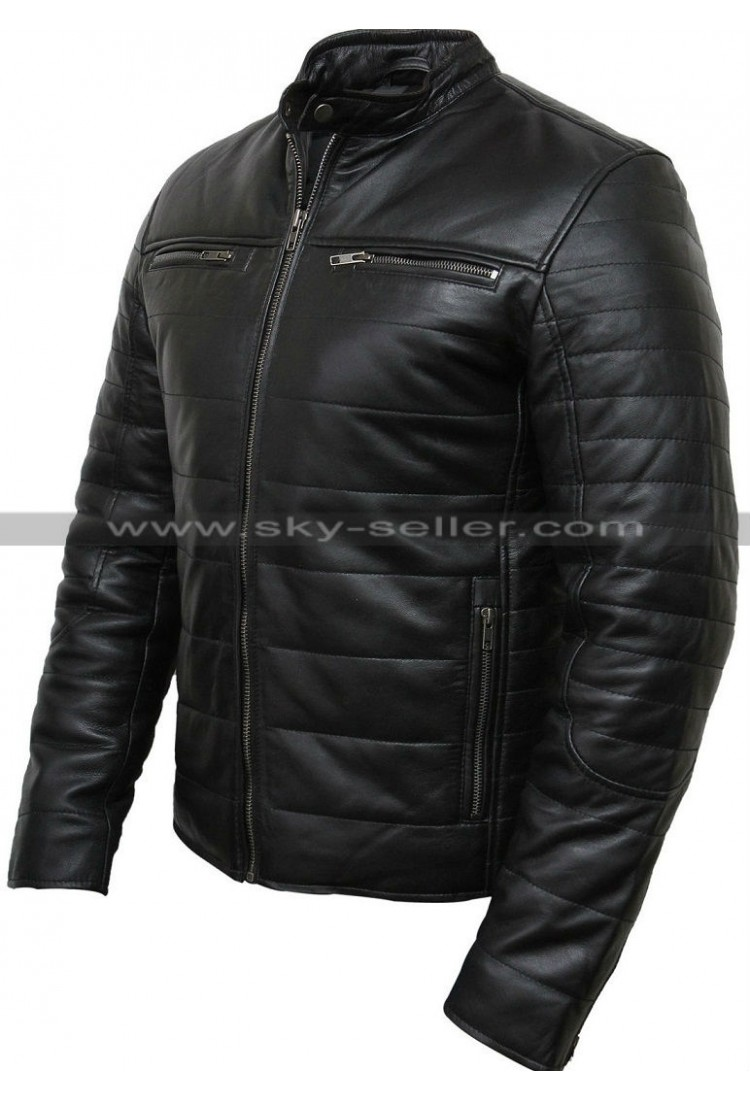 Mens leather puffer jacket