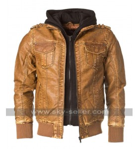 Mens Brown Designer Leather Bomber Jacket
