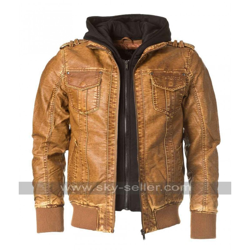 Brown Designer Leather Bomber Jacket