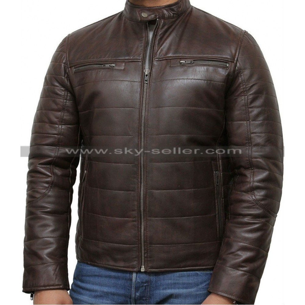 Men S Black Puffer Padded Motorcycle Leather Jacket