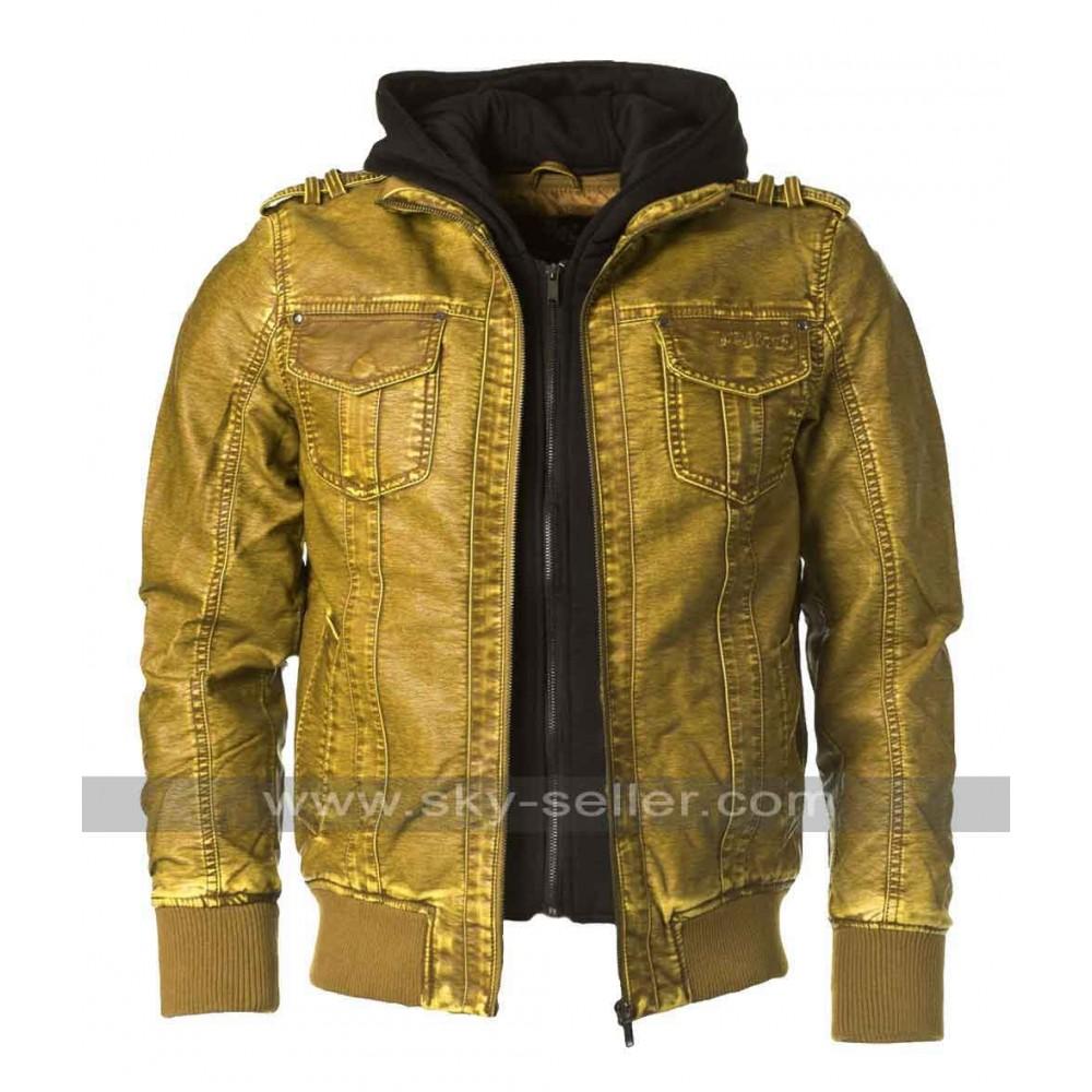 Brown Designer Leather Bomber Jacket