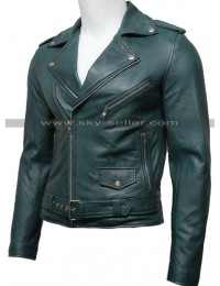 Men's Green Vintage Belted Motorcycle Leather Jacket