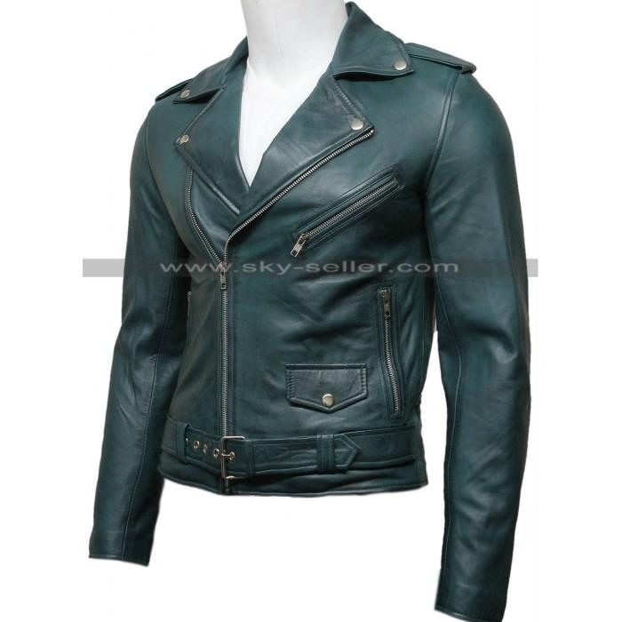 Men's Green Vintage Belted Motorcycle Leather Jacket