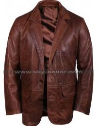 Mens Italian Brown Leather Blazer Jacket