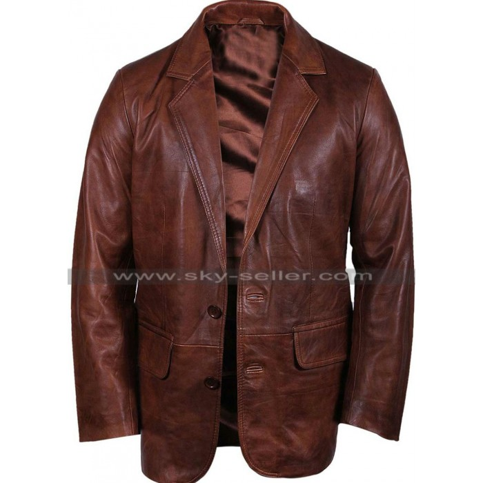Mens Italian Brown Leather Blazer Jacket