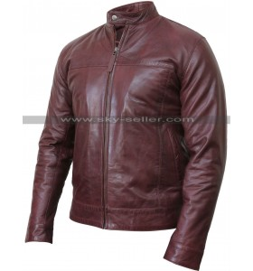Men's Real Leather Burgundy Bomber Motorcycle Jacket