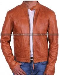 Mens Slimfit Brown Bomber Motorcycle Leather Jacket
