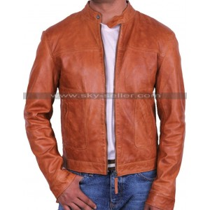 Mens Slimfit Brown Bomber Motorcycle Leather Jacket