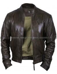 Men's Vintage Distressed Brown Bomber Biker Jacket
