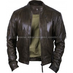 Men's Vintage Distressed Brown Bomber Biker Jacket