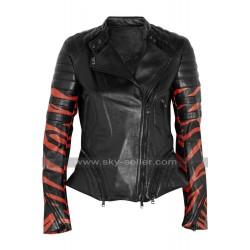 Tiger Stripe Women Black Leather Biker Jacket