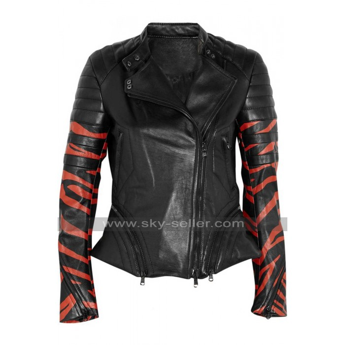 Tiger Stripe Women Black Leather Biker Jacket
