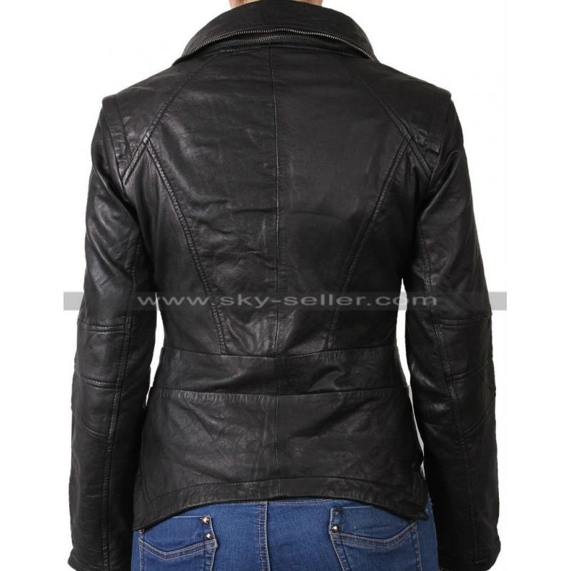 6d5f8f8d Asymmetric Ladies Real Sheep Leather Moto Jacket