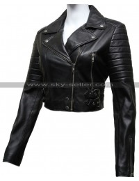 Women's Black Quilted Puffed Biker Leather Jacket