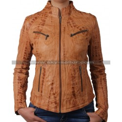 Womens Sheep Real Leather Motorcycle Jacket