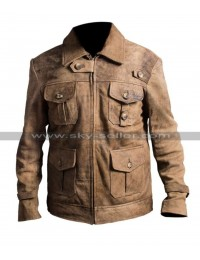 Jason Statham Expendables 2 Distressed Leather Jacket