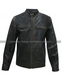Mark Wahlberg Daddys Home Black Motorcycle Distressed Jacket