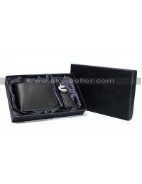 Men's Black Slim Genuine Leather Wallet RFID Blocking Bifold Wallet with Keychain Gift Set