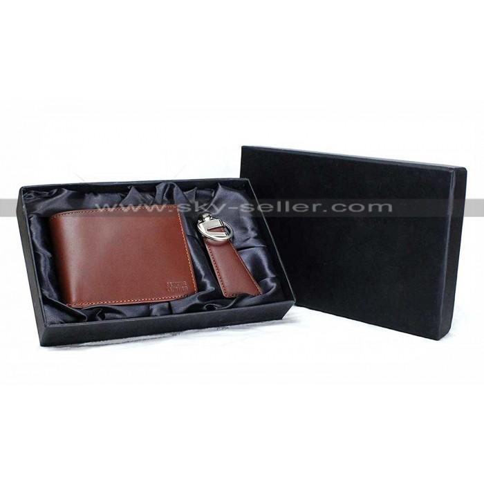 Men's Brown Slim Genuine Leather Wallet RFID Blocking Bifold Wallet with Keychain Gift Set