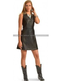 Women Cowgirl Western Black Leather Dress