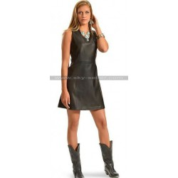 Women Cowgirl Western Black Leather Dress