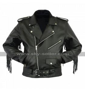 Mens Biker Fringe Style Brando Motorcycle Black Leather Jacket