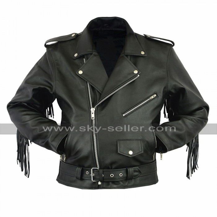 Mens Biker Fringe Style Brando Motorcycle Black Leather Jacket