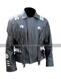Mens Western Trendy Embroidered Beads Unique Fringe Black Leather Jacket