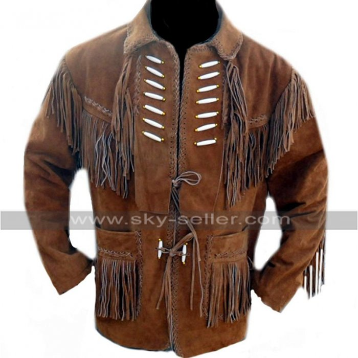 Mens Western Cowboy Fringe Coat Embroidered Beads Brown Suede Leather Blazer