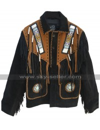 Mens Native American Beads Cowboy Western Wear Fringe Suede Leather Jacket