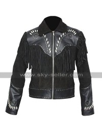 Mens Western Wear Indian Embroidered Fringe Black Suede Leather Jacket